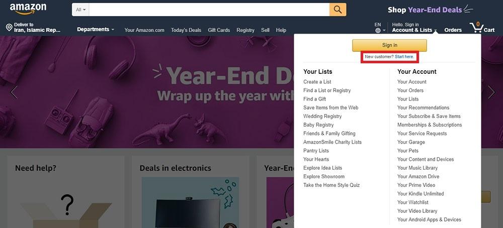 خرید از آمازون Amazon با ویزاکارت و مسترکارت